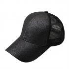 FH068 Half Solid Glitter & Half Mesh Baseball Cap, Black